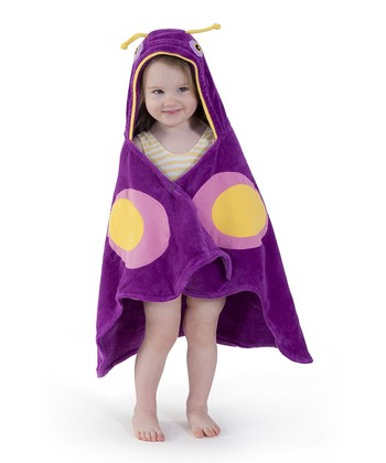 Pink Butterfly Hooded Towel