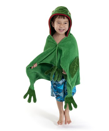 Green Frog Hooded Towel