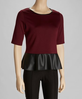 Wine & Black Faux Leather Peplum Top