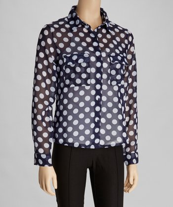 Navy & White Polka Dot Sheer Button-Up