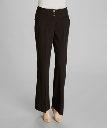 Black Wide-Waistband Pants