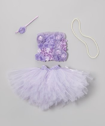 Purple Flowers Tutu Set - Toddler & Girls