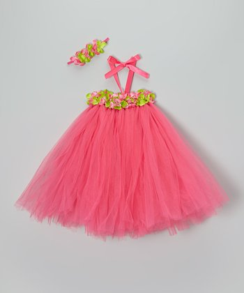 Hot Pink & Green Tutu Dress & Headband - Toddler & Girls