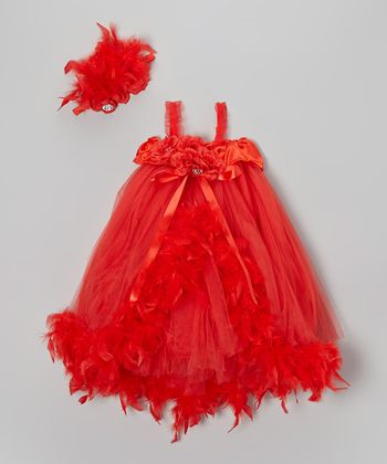 Red Ribbon Tutu Dress & Headband - Infant, Toddler & Girls