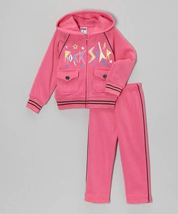 Pink 'Rockstar' Zip-Up Hoodie & Pants - Toddler & Girls
