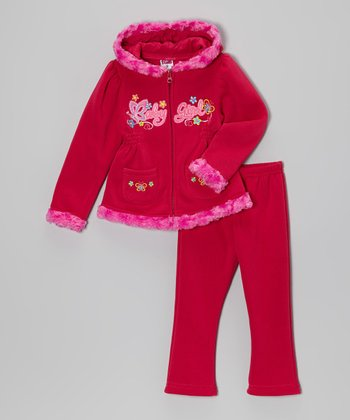 Hot Pink  'Baby Girl' Zip-Up Hoodie & Pants - Toddler & Girls