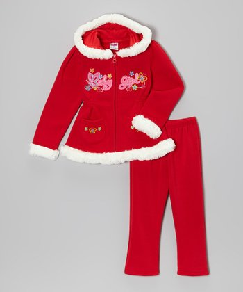 Red 'Baby Girl' Zip-Up Hoodie & Pants - Toddler & Girls