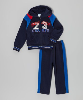 Navy & Red 'Soccer Champs' Zip-Up Hoodie & Pants - Toddler & Boys