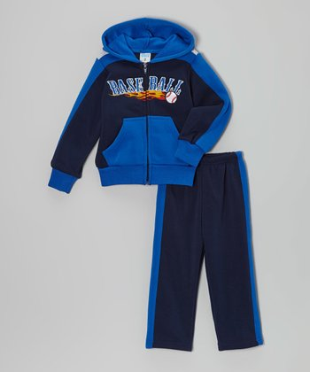 Navy & Blue  'Baseball' Zip-Up Hoodie & Pants - Toddler & Boys