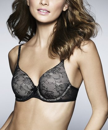 Black & Nude Memory Lace Contour Bra - Women & Plus