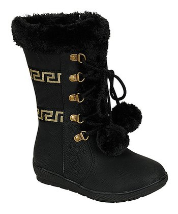 Black Faux Fur Pom-Pom Boot