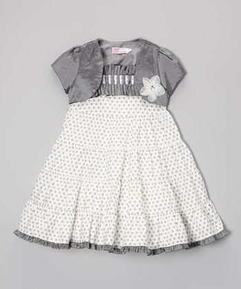 Silver Polka Dot Ruffle Dress & Shrug - Infant & Toddler