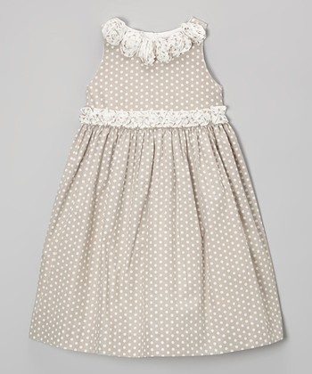 Ivory Dot Sleeveless Babydoll Dress - Toddler & Girls