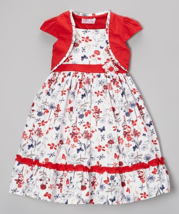 Red Flower Ruffle Dress & Shrug - Infant, Toddler & Girls