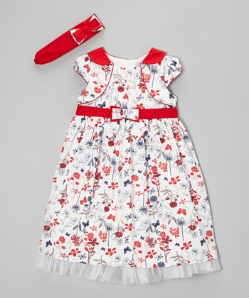 Red Flower Babydoll Dress & Headband - Toddler