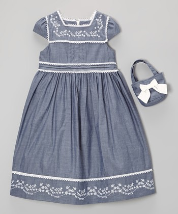 Blue Embroidered Babydoll Dress & Purse - Toddler & Girls