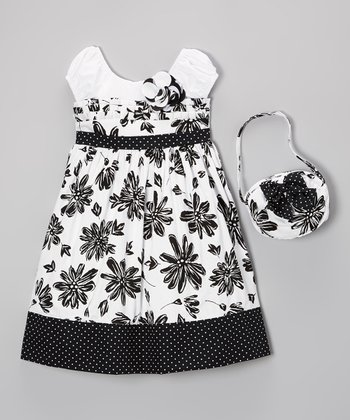 Black & White Floral Dress & Purse - Girls