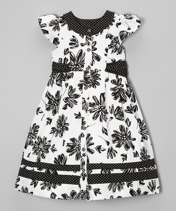 Black & White Floral Angel-Sleeve Dress - Girls