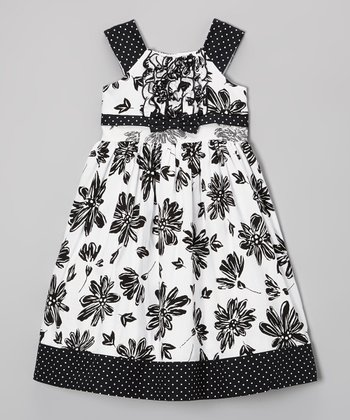 Black & White Flower Ruffle Front Dress - Infant, Toddler & Girls