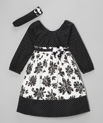 Black & White Flower Dress & Headband - Girls