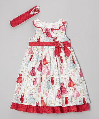 Red Mannequin Dress & Headband - Girls