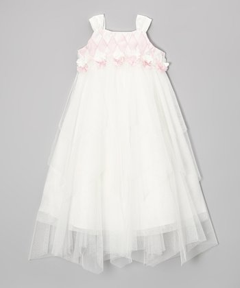 Ivory & Pink Tulle Flutter Dress - Toddler & Girls