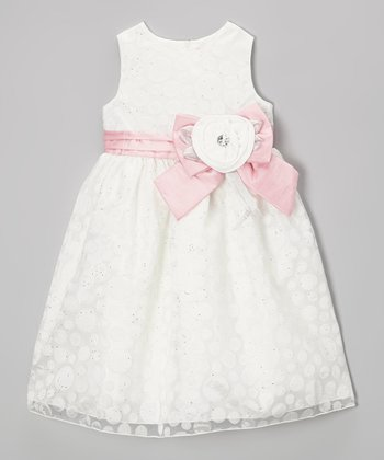Ivory & Pink Polka Dot Bow Dress - Girls