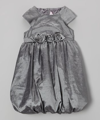 Silver Rosette Bubble Dress - Toddler