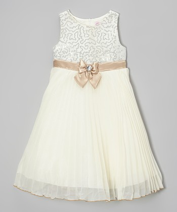 Dark Ivory Sequin Pleated Dress - Infant & Toddler
