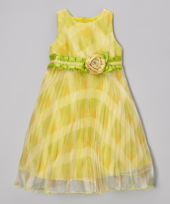 Gold Check Pleated Dress - Girls