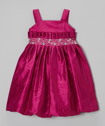 Festival Fuchsia Pleated Dress - Girls
