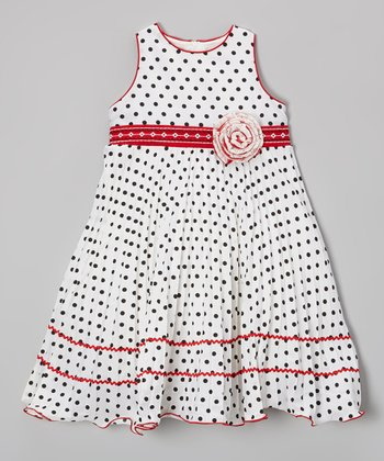 Ivory & Black Polka Dot Rosette Dress - Toddler & Girls