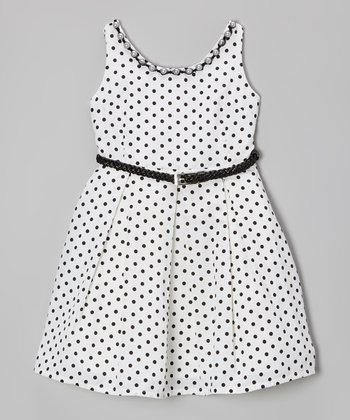 Ivory & Black Polka Dot Belted Dress - Girls