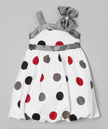 White & Silver Polka Dot Bow Dress - Infant, Toddler & Girls