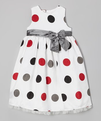 White & Silver Polka Dot Sash Dress - Infant & Toddler