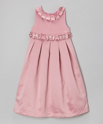 Dusky Pink Pleated Bow Dress - Toddler & Girls