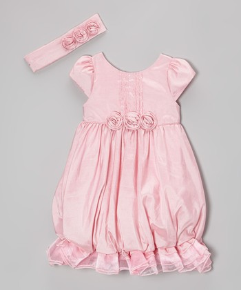 Pink Ruffle Bubble Dress & Headband - Infant, Toddler & Girls