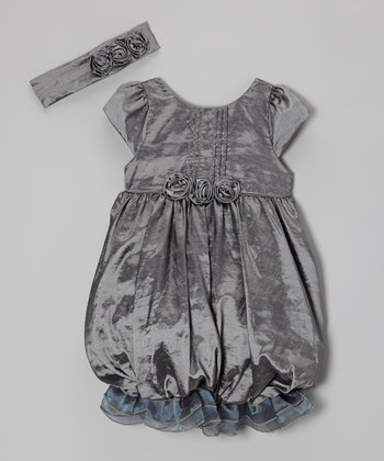 Silver Ruffle Bubble Dress & Headband - Toddler & Girls