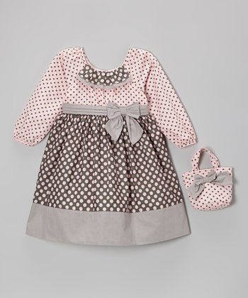 Pink & Gray Polka Dot Bow Dress & Purse - Infant, Toddler & Girls