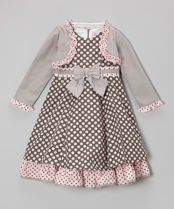 Gray & Pink Polka Dot Bow Dress & Shrug - Girls