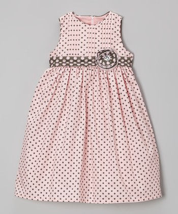 Pink & Gray Polka Dot Rosette Dress - Infant, Toddler & Girls