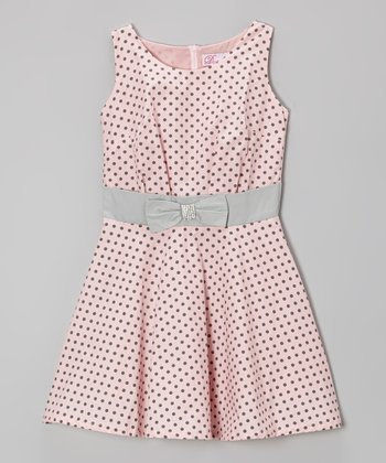 Pink & Gray Polka Dot A-Line Dress - Girls