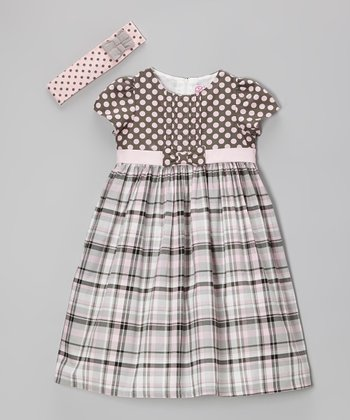 Gray Plaid Polka Dot Dress & Headband - Infant
