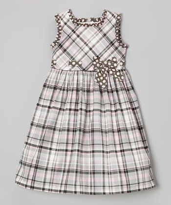Gray Plaid Bow Sleeveless Dress - Toddler & Girls