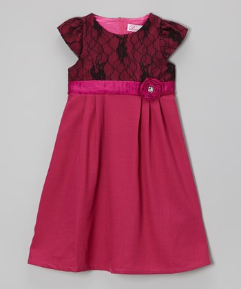Magenta & Black Lace Cap-Sleeve Dress - Toddler & Girls