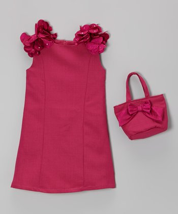 Magenta Petal Shift Dress & Purse - Girls