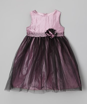 Dusky Pink & Black Tulle Rosette Dress - Infant & Toddler