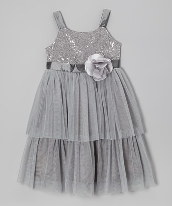Silver Sequin Flower Tulle Dress - Toddler