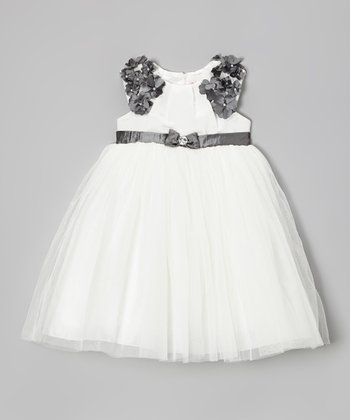 Ivory & Silver Petal Bow Tulle Dress - Girls