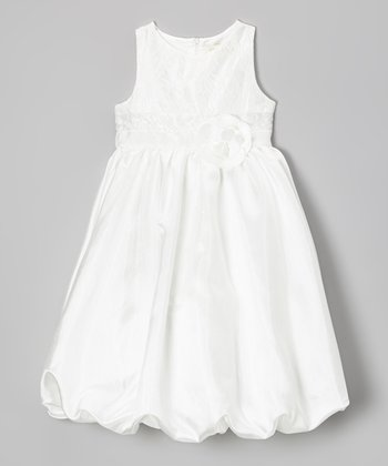 White Rosette Bubble Dress - Girls